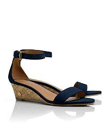 savannah SUEDE WEDGE SANDAL in new port Navy 5.5