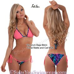Great Beach Swimsuit in cute solid and print combinations.