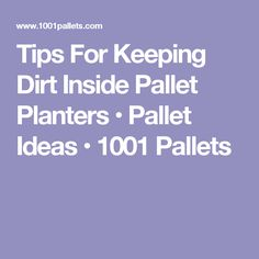 Tips For Keeping Dirt Inside Pallet Planters • Pallet Ideas • 1001 Pallets