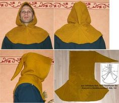 """Haithabu Gugel (Hedeby Hood/Cowl) Site in German """"The basis of this reconstruction experiment, the textile finds from Hedeby, reproduced in the book """"textile finds from the settlement and from the graves of Hedeby"""" by Inga Hägg, 1991. """""""
