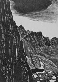 Leon Gilmour (American, 1907-1996). Mt. Whitney Escarpment. 1989. (wood engraving)