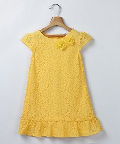 Look what I found on #zulily! Yellow Lace Ruffle Shift Dress - Girls by Beebay #zulilyfinds