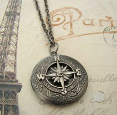 Silver Star Compass Locket Wedding Necklace by BackstreetCreations