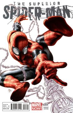 Spidey is one of my favs. Haven't found a Spider-Man pic I don't like. Superior Spider-Man Variant Cover Art by Comic Artist Mike Deodato Jr. Comic Book Characters, Comic Book Heroes, Marvel Characters, Comic Character, Comic Books Art, Character Design, Marvel Avengers, Marvel Comics, Marvel Heroes
