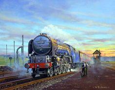 Fine Art Prints of Railway Scenes & Train Portraits - Bon Accord (Night Scotsman) by Wynne Jones