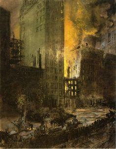 Everett Shinn (American [Modernism, Realism, Ashcan School] Fire on Street, New York City, William Glackens, Framed Prints, Poster Prints, Canvas Prints, Ashcan School, Most Famous Artists, Modernism, Artist At Work, The Twenties