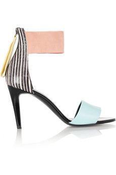 Striped elaphe, leather and suede sandals by: Pierre Hardy