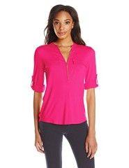 Calvin Klein Women's Solid Zip Front Roll Sleeve Blouse