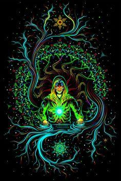Backdrop Crystal Elf Psychedelic Deco Wandbehang 1m x 1,5m Hippie Goa Design Art