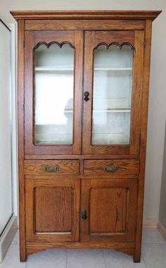 Antique Primitive Country Oak Cupboard Kitchen Cabinet Hutch