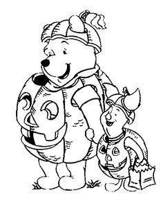 DISNEY COLORING PAGES: DISNEY HALLOWEEN COLORING PAGES WITH WINNIE, PIGLET AND MICKEY MOUSE
