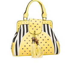 Melie Bianco Roya Striped Satchel Yellow