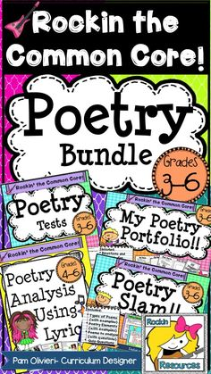 Wow!  This has everything I need for Poetry Month!!!!!!  Teaching slides for types of poetry, elements of poetry, analyzing poetry!  Booklet of poems for kids!  Analyzing lyrics to awesome songs!  Study guides, flash cards, and tests!  TPT Resource