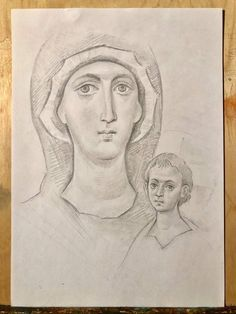 Byzantine Art, Art Icon, Prayer Cards, Orthodox Icons, Blessed Mother, Drawing Techniques, Religious Art, Madonna, Sketches
