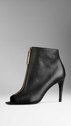 Zip Detail Peep-Toe Ankle Boots | Burberry