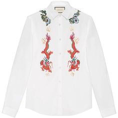 Gucci Cotton Duke Shirt With Embroidery ($905) ❤ liked on Polyvore featuring men's fashion, men's clothing, men's shirts, men's casual shirts, cotton, men, ready to wear, shirts, men's curved hem t shirt and gucci mens shirts