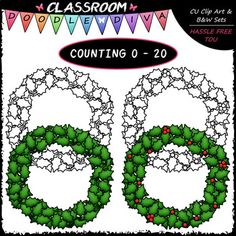 This (0-20) Counting Holly Berries 42 piece clip art set comes with 21 colored clip art and 21 black and white images (black lines with a white fill). They are 300dpi in transparent PNG and non-transparent JPG formats. This set is wonderful for