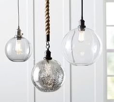 Large and Small PB Classic Pendant - Glass Globe, Mercury or Smoke with nickel cord, large for island kitchen & small for kitchen sink