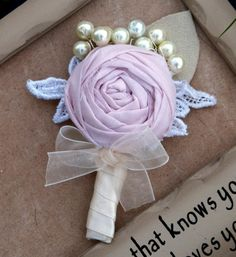 Kelly Boutonniere  Soft Pink Ivory Cream by CherryBlosomBoutique, $22.95