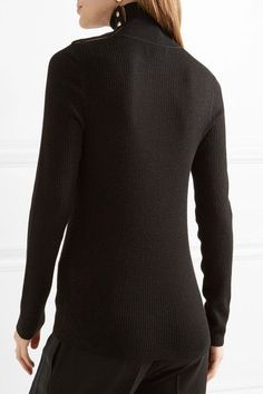 Burberry - Button-detailed Ribbed Wool Turtleneck Sweater - Black -