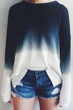 Gradient Color Chic Long Sleeves Cropped Knit Sweater - US$19.95 -YOINS