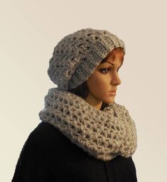 Hat and Scarf Set, Light Gray Slouchy Hat and Infinity Scarf Women Crochet Knit Infiniti Scarf and Slouch Slouchie Silver Gray ready to ship Crochet Slouchy Hat, Scarf Crochet, Chunky Infinity Scarves, Hat And Scarf Sets, Handmade Shop, Gray, Woman, Knitting, Silver