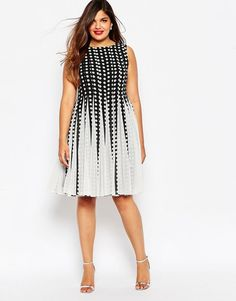Plus Size Dress - Plus Size Spot Mesh Insert Fit and Flare Midi Dress