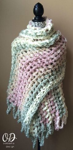 Gentle Solace Prayer Shawl/ easy / use Q hook / FREE CROCHET pattern