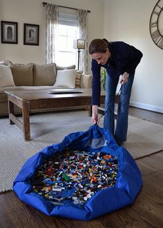 Lego Bag. I need one of these! OMG!! My kids have an under bed storage tub, but it's overflowing now.