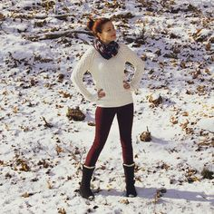 Snow and Cranberry outfit : sweater by @target pants by @avenle boots found at @marshalls