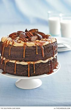 Layers of chocolate cake, piles of frosting and drizzled caramel, topped with turtle candies. A Chocolate Turtle Cake recipe from The Southern Cake Book by Southern Living.
