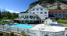 The White Mountain Hotel & Resort in North Conway, NH. The year-round heated outdoor pool and Jacuzzi overlook Mt. Washington Valley.