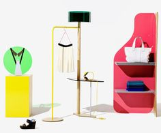 United Colors of Benetton has a research group named Fabrica. They created this display system that matched their fun sense of style. Is a modular shelving and display system designed to complement the product its meant to showcase.