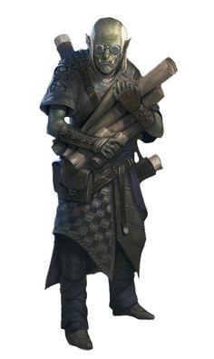 Male Half-Orc Wizard Scholar - Pathfinder PFRPG DND D&D d20 fantasy