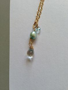 Blue pearl Sky blue topaz White topaz Gold Necklace by Lilyb444, $45.00