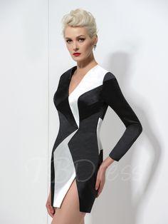 Long Sleeve Sheath V-Neck Contrast Color Short Cocktail Dress