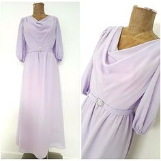 Vintage 70s Evening Dress Size Medium Lilac Cowl Neck Belted Chiffon Ball Gown  #Unknown #BallGown #Formal