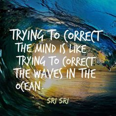 """Do not try to correct the mind. Trying to correct the mind is like trying to correct the waves in the ocean. Can you stop the waves in the ocean? If you want to see an ocean without waves you only have to dive deeper. When you #dive #deep #inside you will #experience the #stillness of the #ocean. And if it is all #frozen that is #enlightenment."" - #srisri Ravi Shankar"