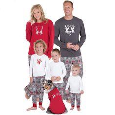 13d64ea708 Christmas Reindeer Pattern Elastic Waist Family Pajamas