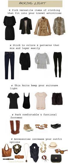 Travelista's How to Pack Light.  See?!  All that black I own comes in handy!!