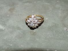 #jewelry 14K Gold Ladies Diamond Cluster Ring - 0.15 ctw - Size 5.25 - Pre-Owned please retweet