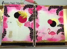 jpp - Filofax Wochendeko / Planner Gestaltung / Pink Schwarz Gold / Tropisch / tropical / Flamingo /Stampin Up! Berlin / Pop of Paradise / Botanical Blooms / Pflanzen Potpourri www.janinaspaperpotpourri.de