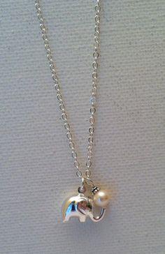 Lucky Elephant Sterling Silver Necklace by Jennasjewelrydesign, $30.00
