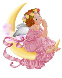 Angel and Moon PNG Picture