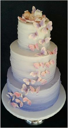 Lavender Ombré buttercream cake with butterfly cascade and fondant baby topper by Skyes Delight l Cool Wedding Cakes, Wedding Cake Toppers, Butterfly Baby Shower, Butterfly Theme Party, Butterfly Birthday, Butterfly Wedding, Butterfly Cakes, Cake With Butterflies, Lavender Baby Showers