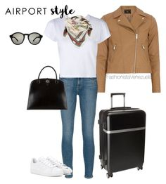 """""""Airport  Style"""" by liz-chirinos-godoy on Polyvore featuring Dorothy Perkins, Frame Denim, RE/DONE, Gucci, adidas, Hermès and Calvin Klein"""