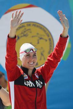 Melanie McCann of Canada smiles during the Women's Swimming Modern Pentathlon…