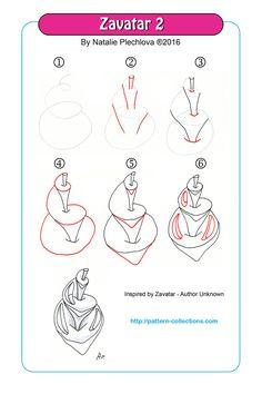 Zavatar 2 tangle pattern by Natalie Plechkova PatternCollections.com