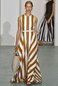 Jasper Conran Spring/Summer 2017 Ready To Wear Collection - awning stripes, interchanging directions, solid stripes on white,