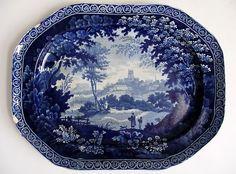 19th Clews Staffordshire Nottingham Castle Scene Dark Blue Transferware Platter | eBay